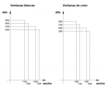 Ventanas blancas y ventanas de color